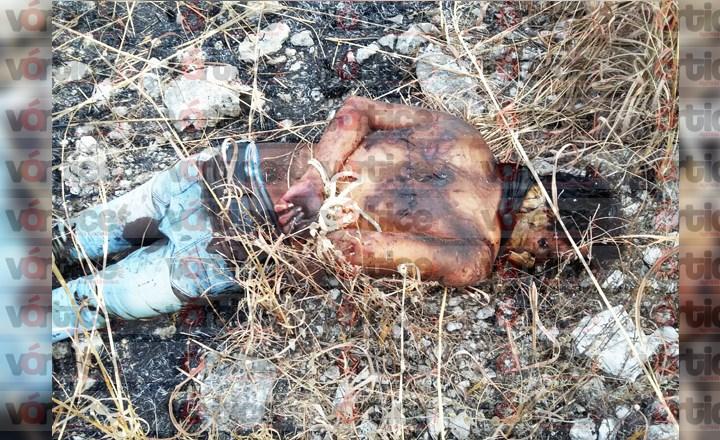 Localizan cadáver amordazado, con señas de tortura y parcialmente quemado