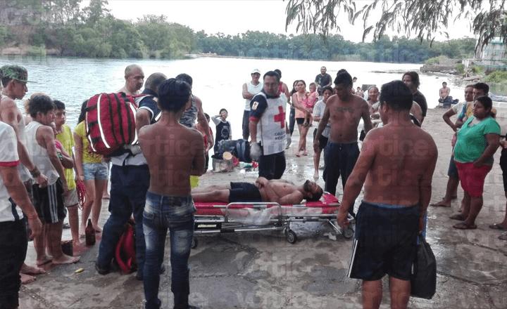 Chiapacorceños salvan a bañista de ahogarse en el Río Grijalva