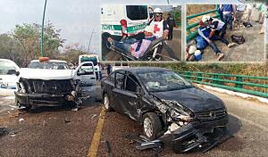 Encontronazo en la carretera al Aeropuerto Internacional deja 9 heridos