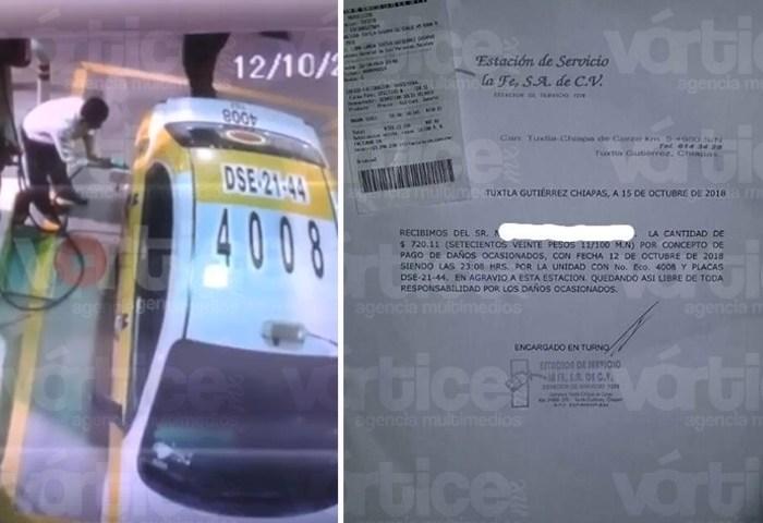 Dueños de taxi pagan gasolina que chofer robó; el video se hizo viral