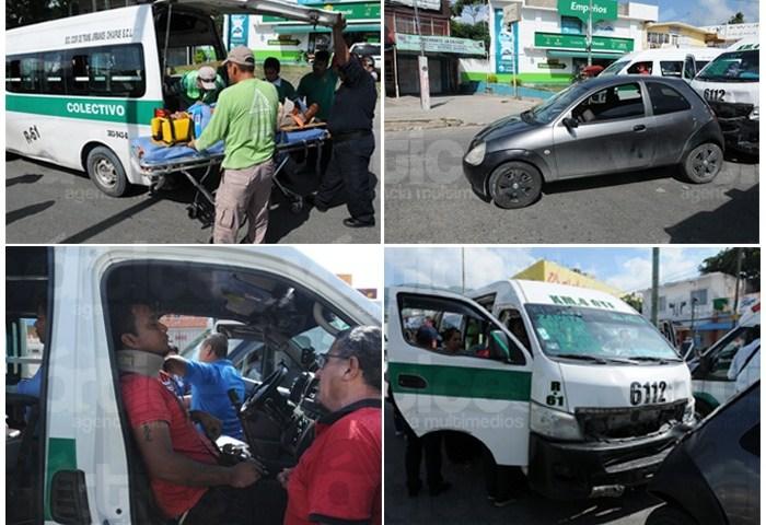 Encontronazo entre colectivo y compacto deja 5 heridos