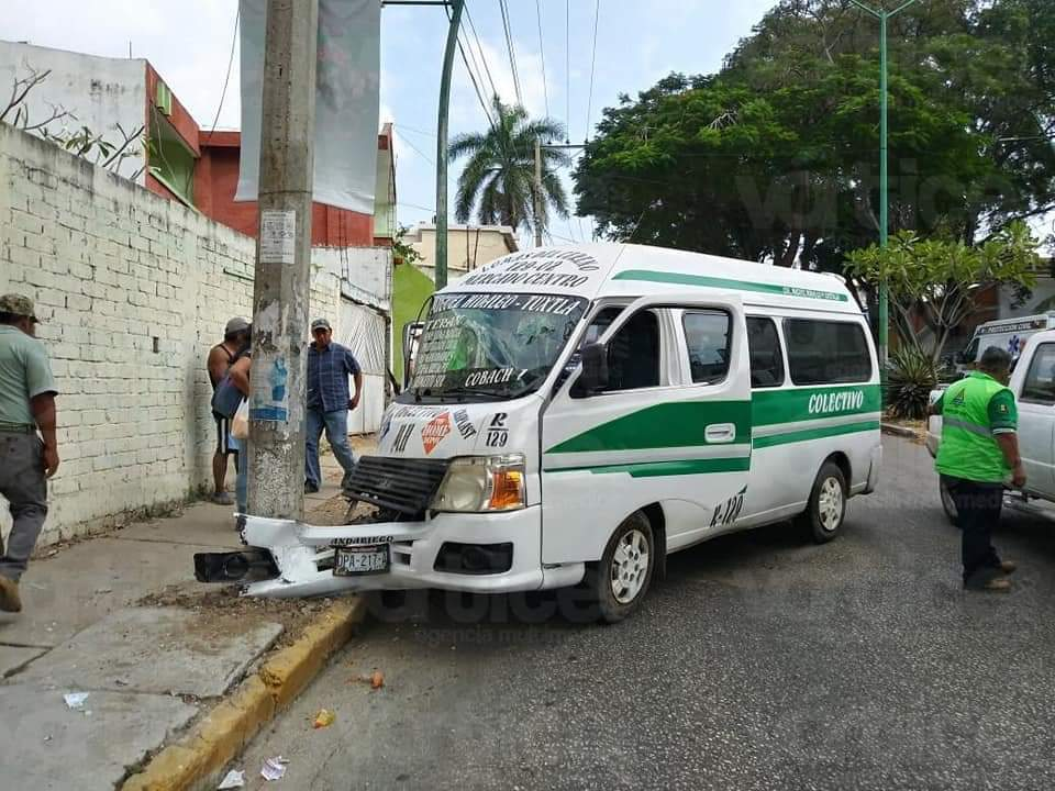 Pasajera pierde el ojo en accidente de colectivo en Tuxtla