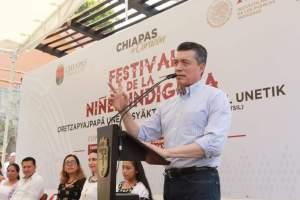 Encabeza Rutilio Escandón Festival de la Niñez Indígena Zoque-Tsotsil en Copainalá