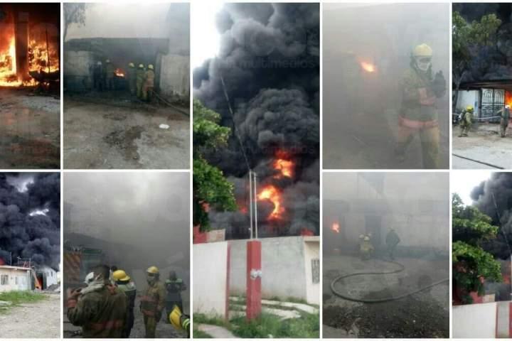 ¡Otra vez! Se incendia fábrica de veladores en Tuxtla