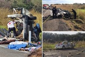 Carreterazo deja al menos 10 muertos en la autopista de Arriaga