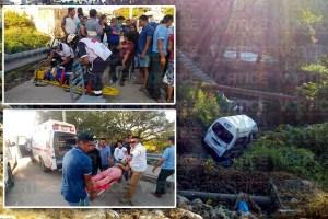 Colectivo se va a un barranco y 14 personas resultan heridas