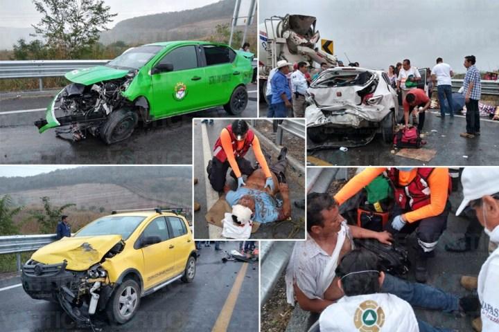 Carambolazo deja 10 heridos en Ocozocoautla