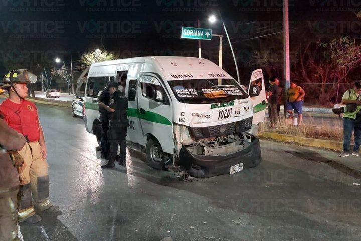 Colectivazo deja seis pasajeros heridos en Tuxtla Gutiérrez