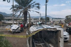 Muere taxista tras múltiple accidente en Vida Mejor