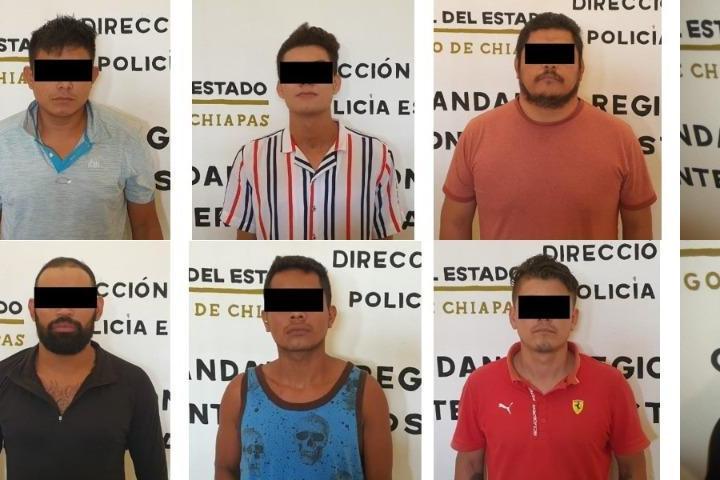Detiene Grupo Antipandillas a 11 implicados en robo con violencia y contra la salud en Tapachula