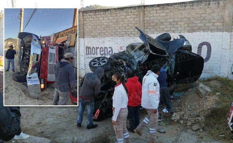 Prensados, Volteo se queda sin frenos y causa brutal accidente