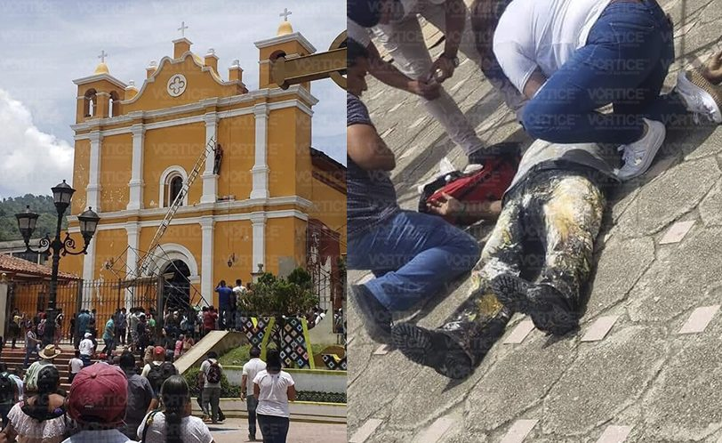 Se fractura pintor al caer de lo alto de una parroquia en Yajalón