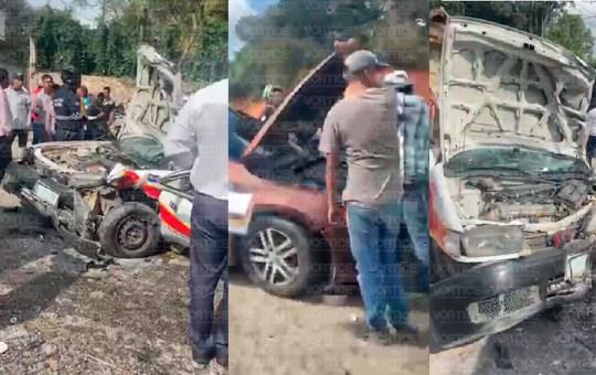 Encontronazo en San Cristóbal deja dos heridos; uno de ellos prensado