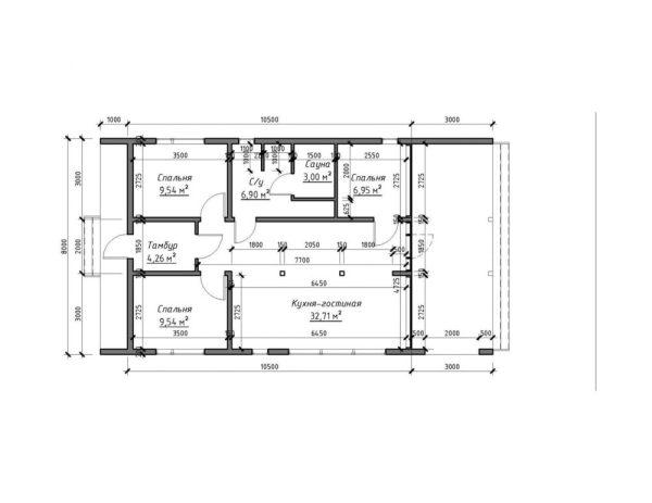 Проект амбарного дома 8 x 14,5 м из SIP панелей, смета ...
