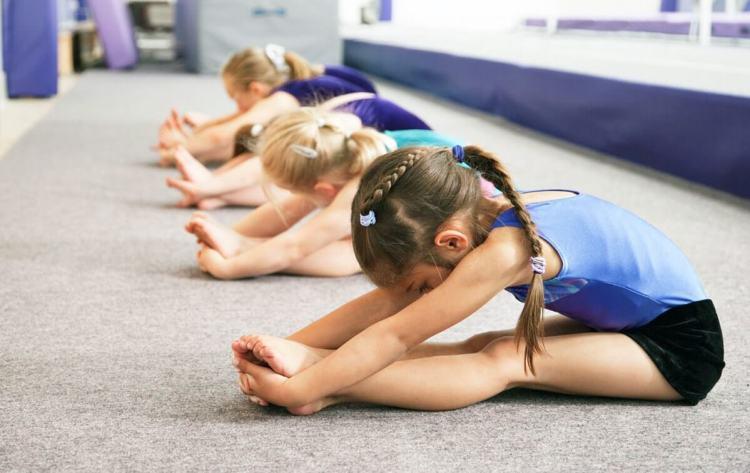 Девочки делают гимнастику