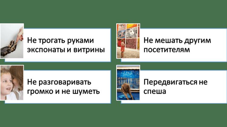 Картинка-памятка: Правила поведения для детей в музее
