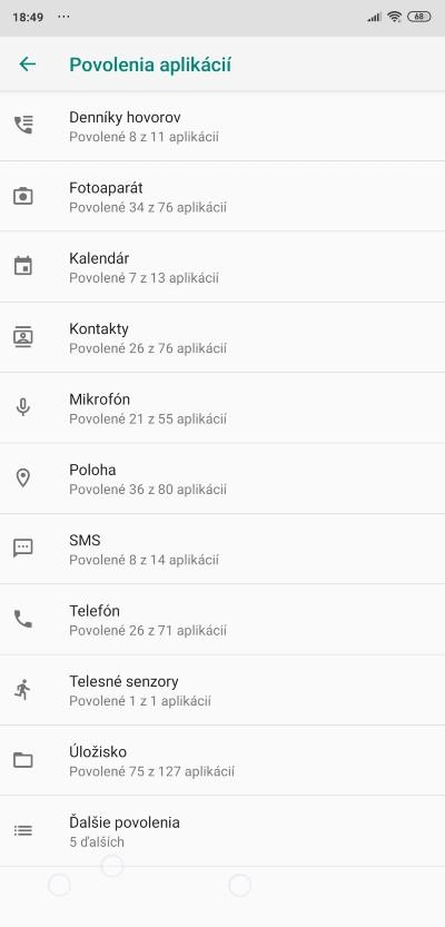 povolenia aplikacii nastavenia android smartfonu