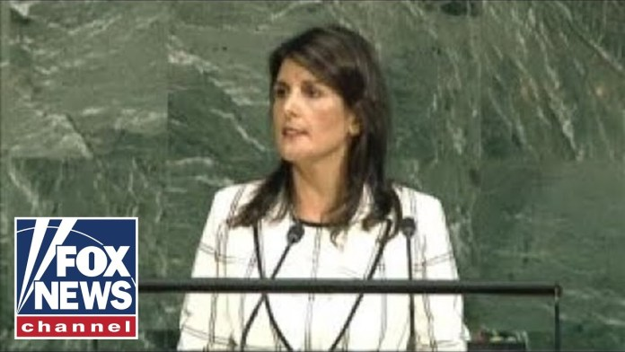 Nikki Haley speaks at the United Nations General Assembly