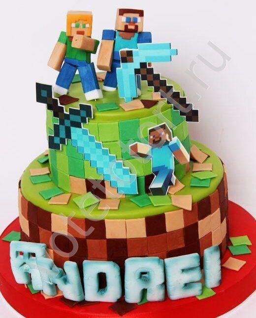 Торт Майнкрафт на заказ - Лучшие детские торты в Москве!