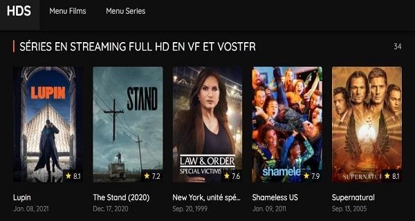 HDS dans les meilleurs sites de streaming gratuit des films en français.