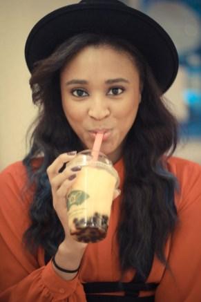 Ria Michelle drinking bubble tea