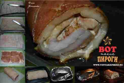 Запеченный мясной рулет