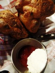 Popovers with homemade butter + strawberry jam