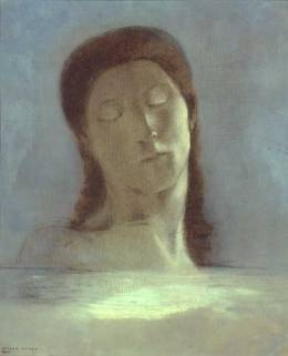 """""""Closed Eyes"""" 1890 by Odilon Redon. I found an artist I had never heard of and researched him a bit. He has painted some truly strange and amazing pictures. I'm a new fan!"""