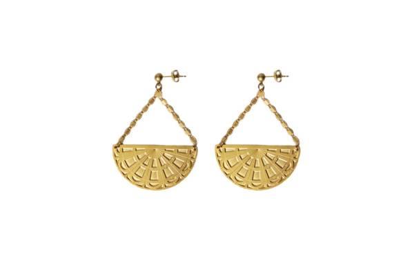 Boucles d'oreilles pendantes alma laiton doré or fin 24 carats vous mademoiselle
