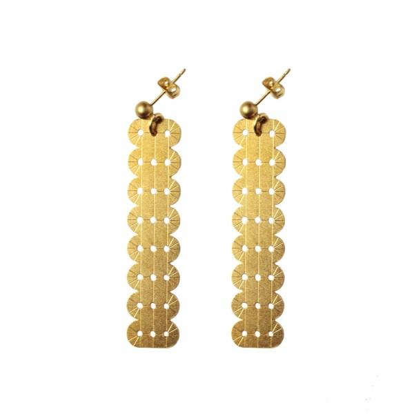 boucles d'oreilles pendantes alma laiton doré or fin 24 carats
