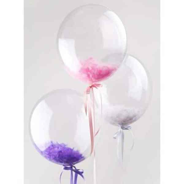 Воздушные шарики с перьями Бабл 45 см