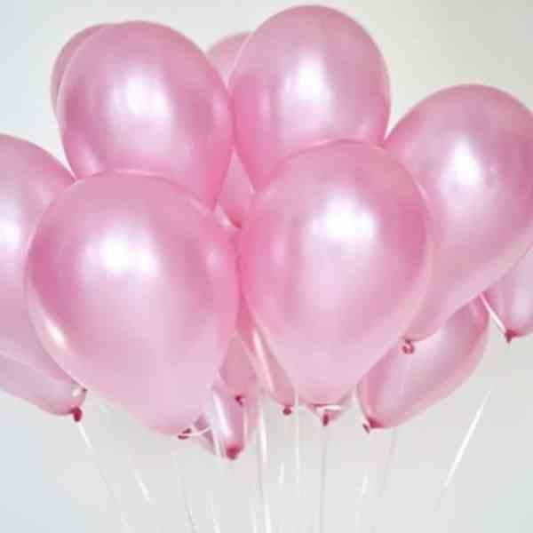 Воздушный шар с гелием перламутр розовый