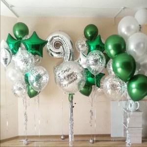 Композиция из воздушных шаров Изумрудная