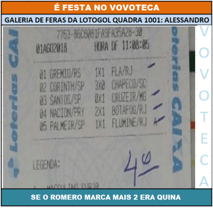 LOTOGOL 1001 QUADRA ALESSANDRO PE