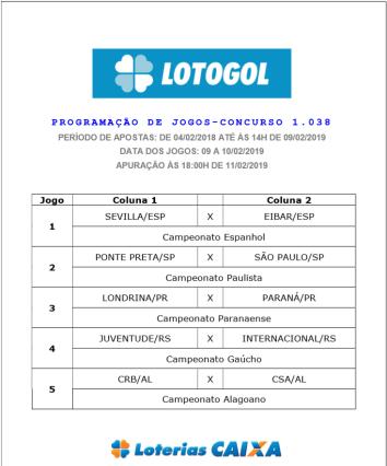 lotogol 1038 programação oficial