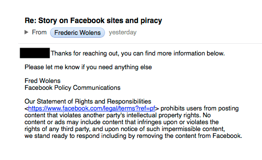 Facebooks non-response to online piracy promoted on its pages