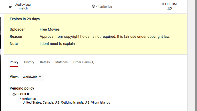 "Bogus ""fair use"" claim on YouTube"
