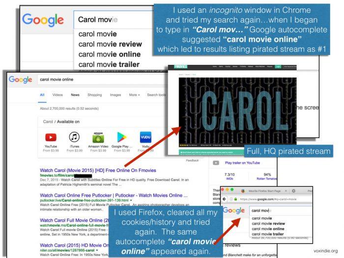 Google auto-complete piracy term