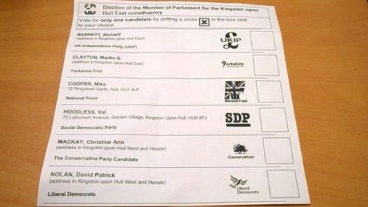 Postal ballot papers for Hull East. Notice that no Labour or Green candidates are listed.
