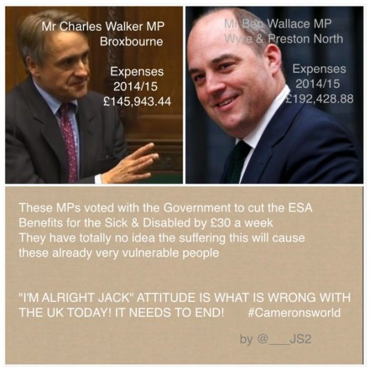 Oh, look: Not only does Charles Walker not want us to see his tax return, he also voted to cut Employment and Support Allowance for some of the UK's poorest people.