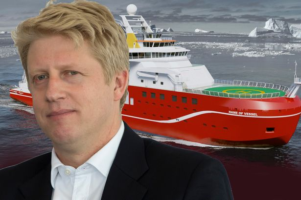 """The Mirror captioned this """"Votey McVolte-Face"""" to mark the way Science minister Jo Johnson U-turned on the naming of a new Arctic science vessel."""