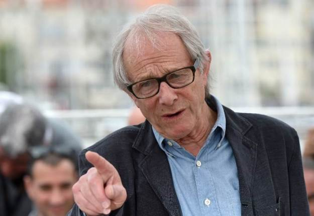 """British director Ken Loach talks during during a photocall on May 13, 2016 for the film """"I, Daniel Blake"""" at the 69th Cannes Film Festival in Cannes, southern France."""