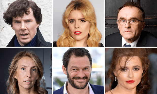 Clockwise from top-left: Benedict Cumberbatch, Paloma Faith, Danny Boyle, Helena Bonham Carter, Dominic West and Sam Taylor-Johnson, who are among the signatories [Composite: Getty, Rex, PA].