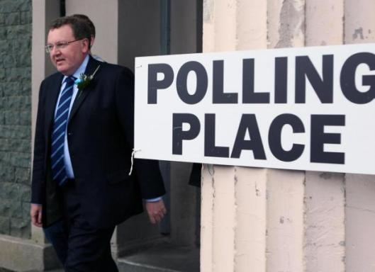 David Mundell at a polling place, during last year's general election [Image: The Herald].
