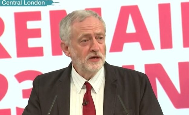 Eloquent example: Jeremy Corbyn speaking in favour of remaining in the EU on June 2. But the press chose to report that one of their own number was hissed when she asked a question.