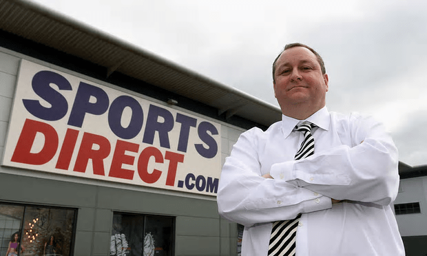 Mike Ashley outside the Sports Direct headquarters in Shirebrook, Derbyshire [Image: Joe Giddens/PA].