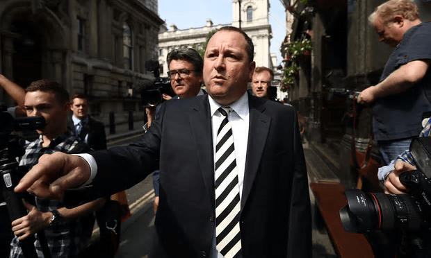 Sports Direct founder Mike Ashley leaves the Red Lion pub in Westminster to attend a select committee hearing at Portcullis house, London [Image: Carl Court/Getty Images].
