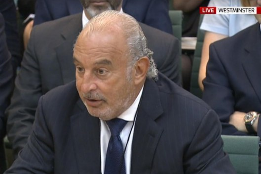 Sir Philip Green giving evidence to MPs [Image: Sky News].