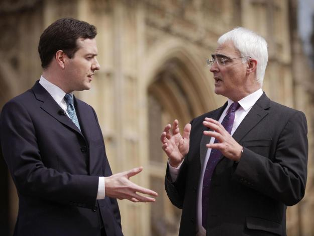 Osborne and Alistair Darling say 'Leave' campaign claims that Britain would have more to spend on public services if it leaves the EU are a con [Image: Peter Macdiarmid/Getty Images].