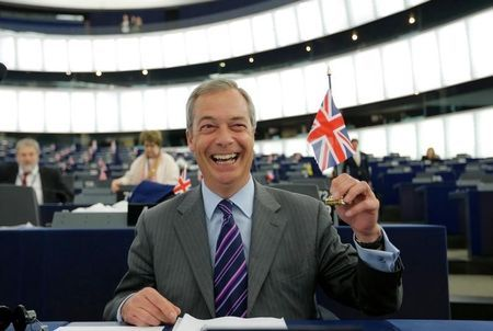 Nigel Farage and his silly little flag.